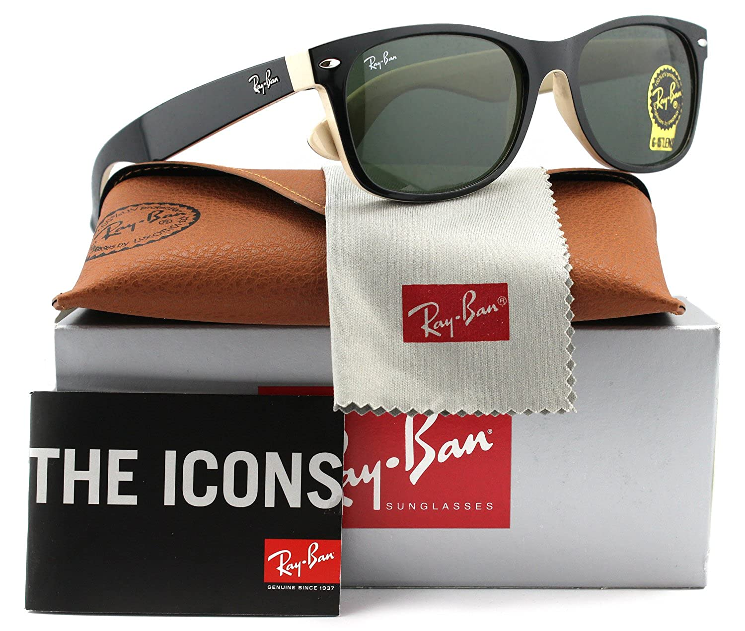 Ray-Ban RB2132 Large New Wayfarer Sunglasses Shiny Black w/Crystal Green (875) 2132 875 55mm Authentic