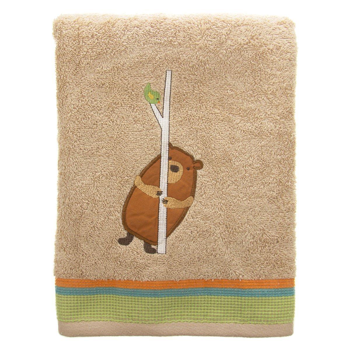 Saturday Knight Limited Forest Friends 100% Cotton Bath Towel Bear Bird Applique Unisex Kids Beige Tan by Saturday Knight Limited (Image #1)