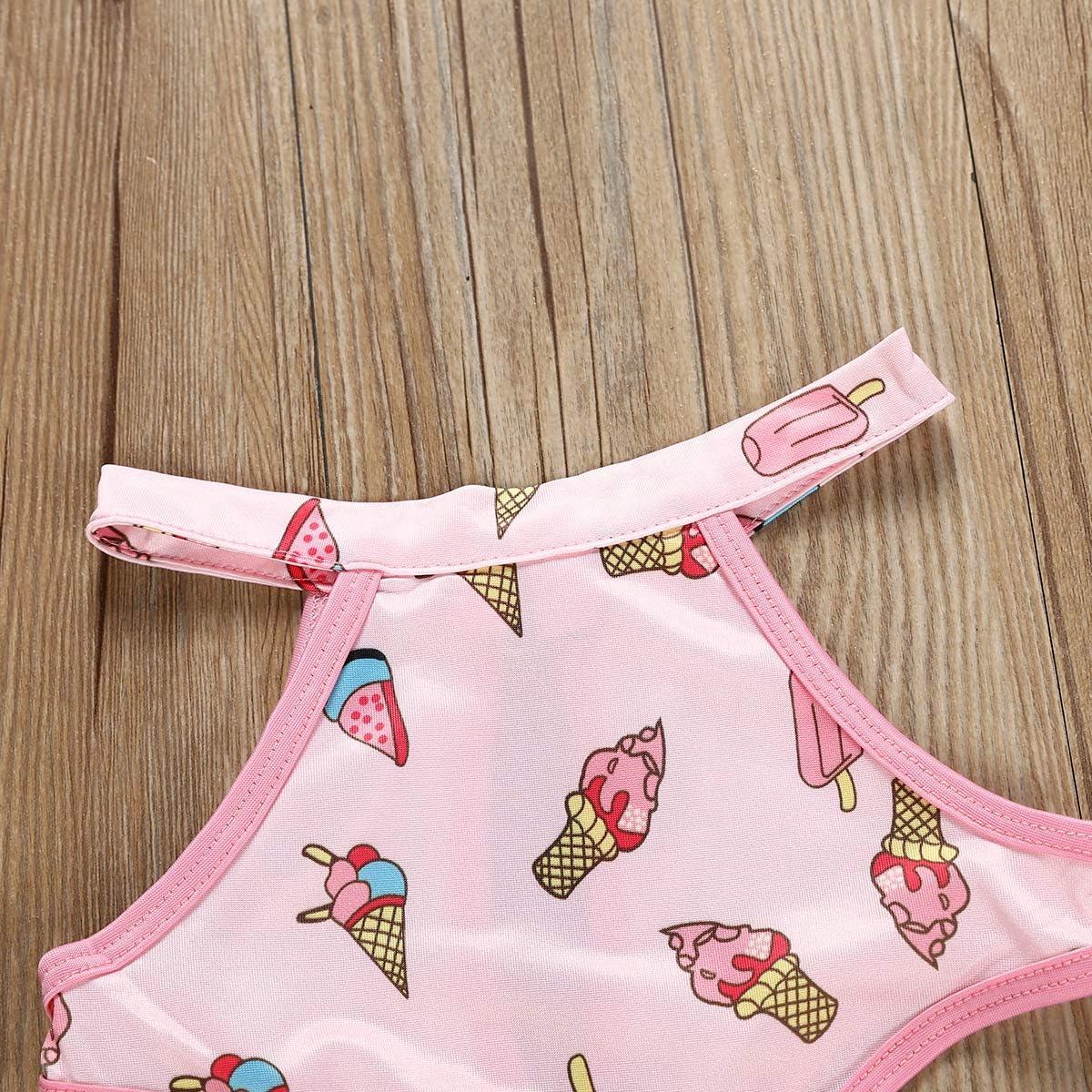 Toddler Baby Girls One-Piece Ice Cream Print Swimsuit Summer Beach Swimwear