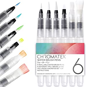 Water Brush Pens by Chromatek. Set of 6 Aqua Pen Painting Brushes. Including Online Video Tutorials and Downloadable Picture Templates. Ideal for All Water Soluble Pigment and Watercolor Media.