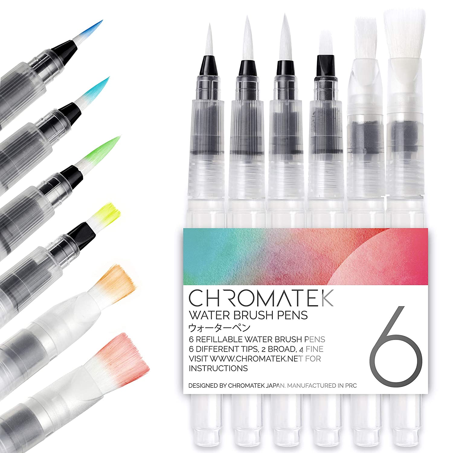 Water Brush Pens by Chromatek Watercolor Brush Pen Painting Brushes for All Water Soluble Pigment and Watercolor Paints. Set of 6 Aqua Pens Online Video Tutorial and Downloadable Picture Template