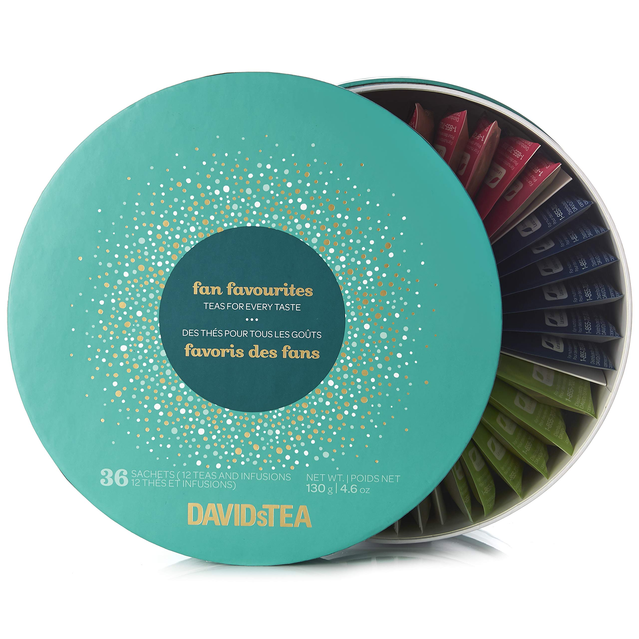 DAVIDsTEA Sachet Tea Wheel Tea Assortment Box, Tea Gift Set, Ready-to-Steep, No Filters Needed, 36 sachets, 4.6 oz (Fan Favorites)