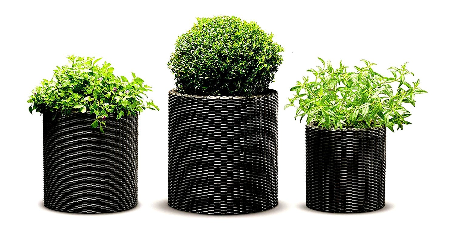 Rattan Plant Pot Set of 3 Pieces Small Medium Large Resin Brown Colour Planters Flowers Backyard Balcony Outdoor Weatherproof Stylish Porch Garden Decorative & eBook by Easy&FunDeals