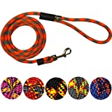 Extremely Durable Dog Rope Leash, Premium Quality Mountain Climbing Dog Rope Lead, Strong, Sturdy and Comfortable Leash, Supports the Strongest Pulling Large and Medium Sized Dogs, 3 or 6 feet - (Colors: Black, Red, Blue, Grey, Purple), by Downtown Pet Supply