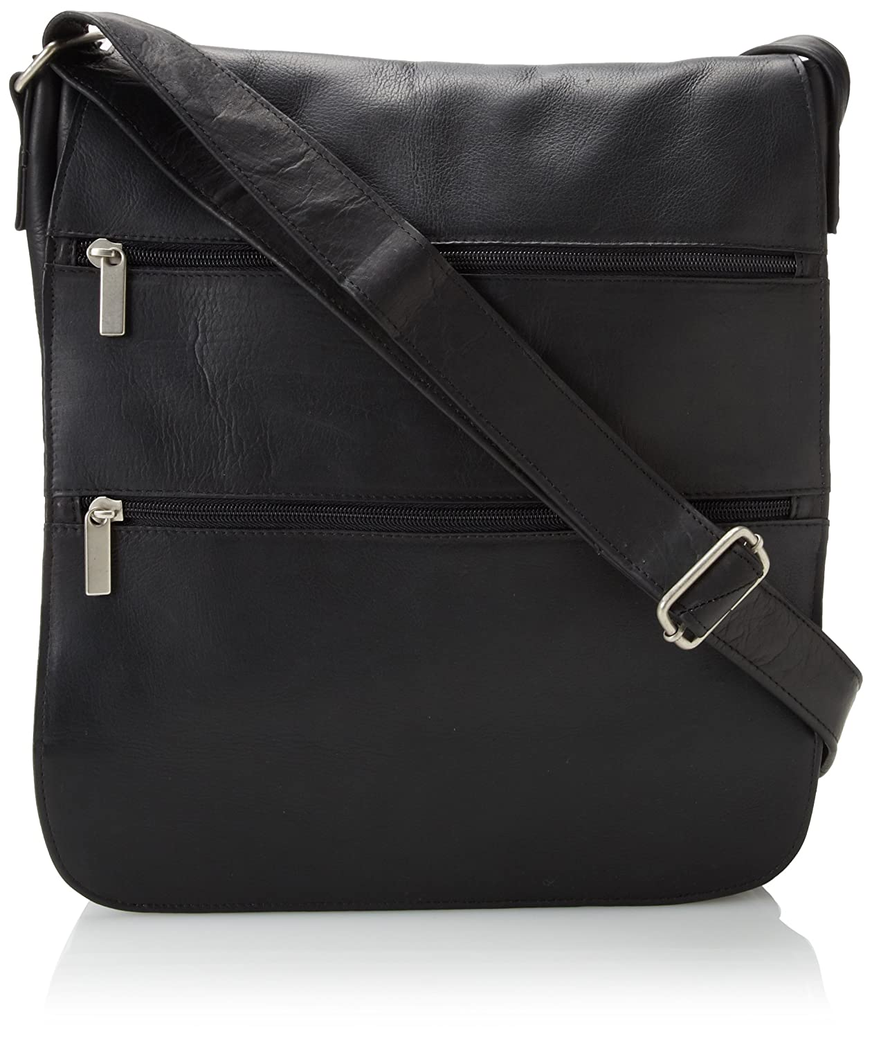 David King Co. Laptop Messenger Bag with 2 Zip Pockets Black One Size