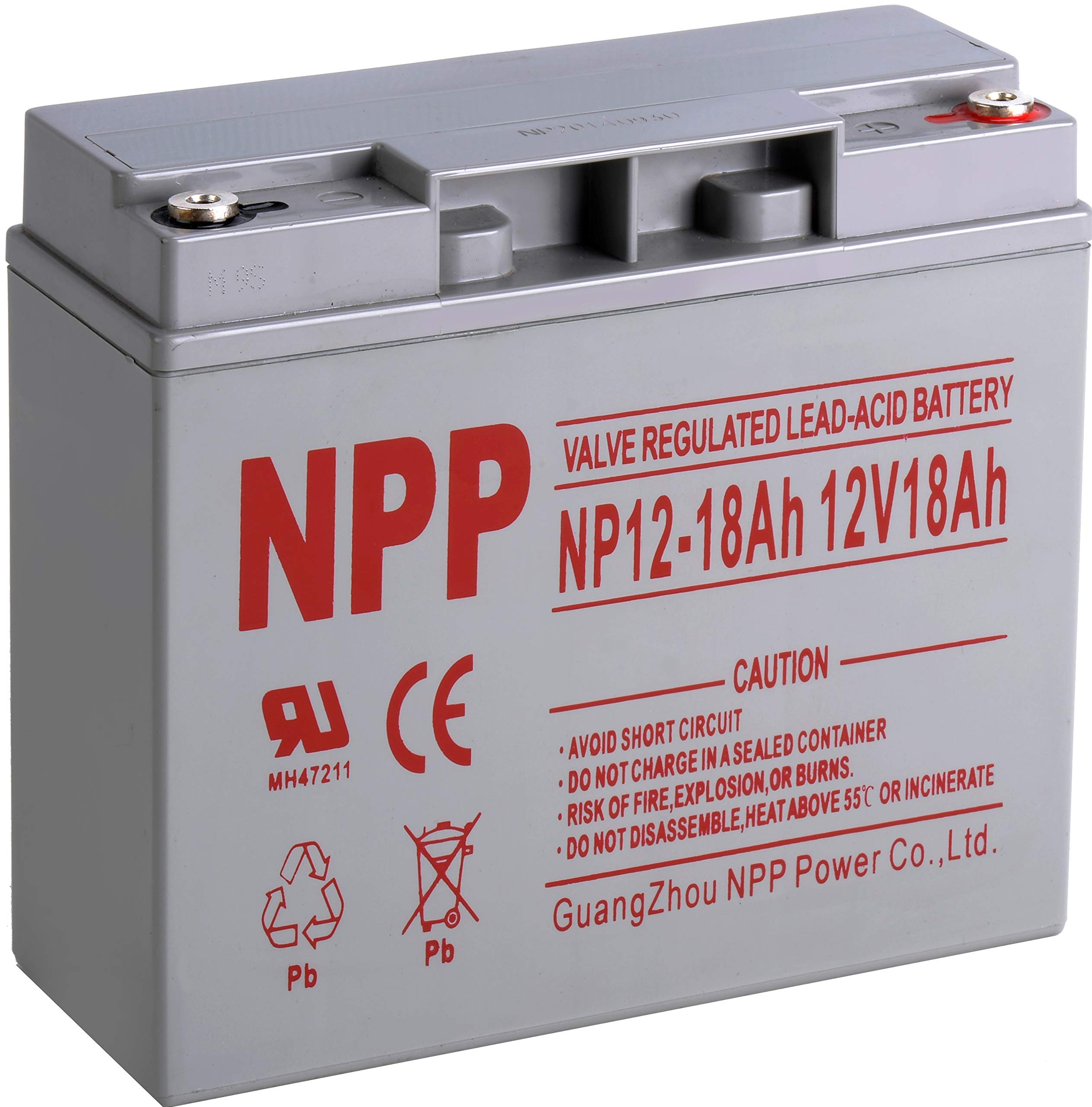 NPP 12V 18 Ah 12Volt 18 amp Rechargeable Sealed Lead Acid Battery for UPS Electric Scooter Wheelchair Generator with Button Terminals