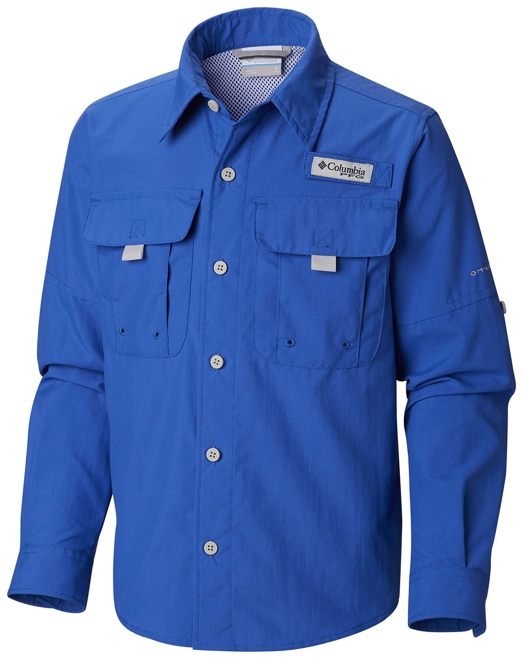 Columbia Boy's Bahama Long Sleeve Shirt, Vivid Blue, Small