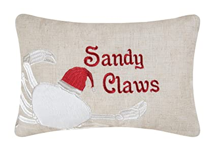 8x12 inch embroidered christmas decorative pillow sandy claws crab - Christmas Decorative Pillows