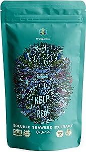 Kelp it Real, High Grade Soluble Seaweed Extract 0-0-14 Certified Vegan OMRI Listed Garden Fertalizer (8oz)
