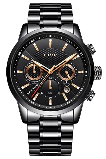 Reloj Hombre, LIGE Reloj Lujo para Hombre de Acero Inoxidable clásico Negro, Reloj de Caballero, Reloj Deportivo de Pulsera con cronógrafo Cuarzo analógico: ...