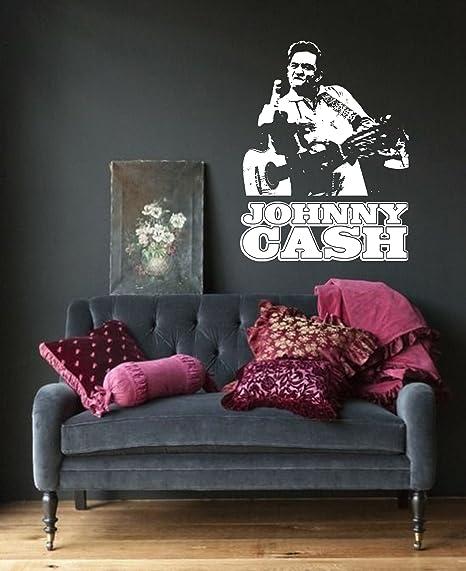 Johnny Cash Wall Art Sticker Music Vinyl Mural WA574, Medium 61cm(w ...