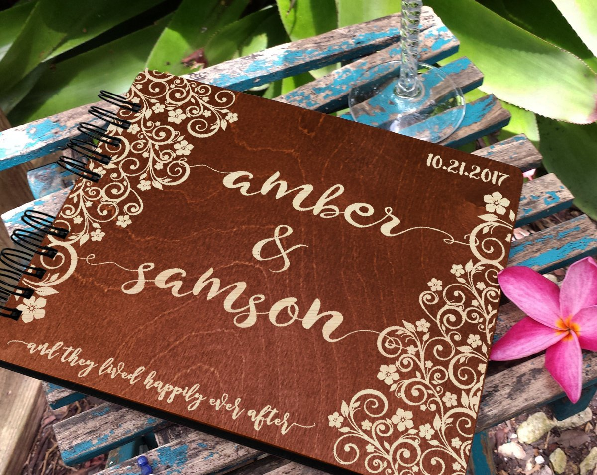 Personalized Ever After Flower 8.7x7 Wooden Guest Book Custom Bridal Shower Book for Bride Husband Wife Anniversary Guestbook Newlyweds Custom Mahogany Stain Advice Book by Weddings-by-StockingFactory (Image #2)