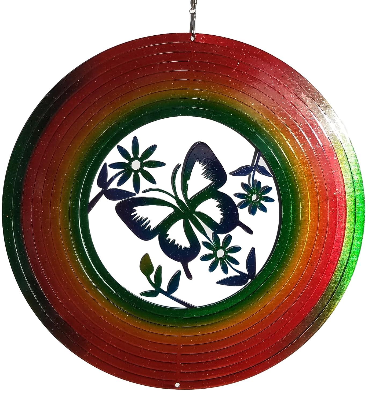 バタフライ花でマルチWind Spinner、メタルヤードアートとアウトドア飾り B06VY8CMY2、12インチ B06VY8CMY2, 木のおもちゃがりとん:c3c3a340 --- artmozg.com
