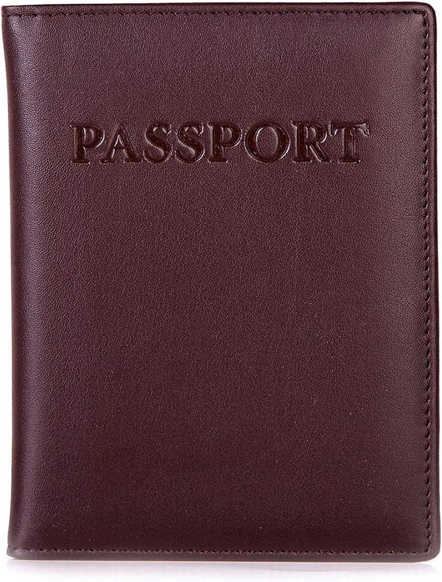 BOCA Funda Pasaporte con Protección RFID, Funda de Cuero con Organizador Para Tarjetas de Crédito y DNI, Piel Genuina Premium, Marrón sin ranuras