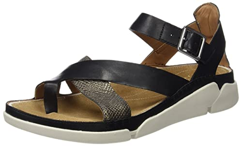 5297e624001a Clarks Tri Ariana - Black Interest Leather Womens Sandals 7 US ...