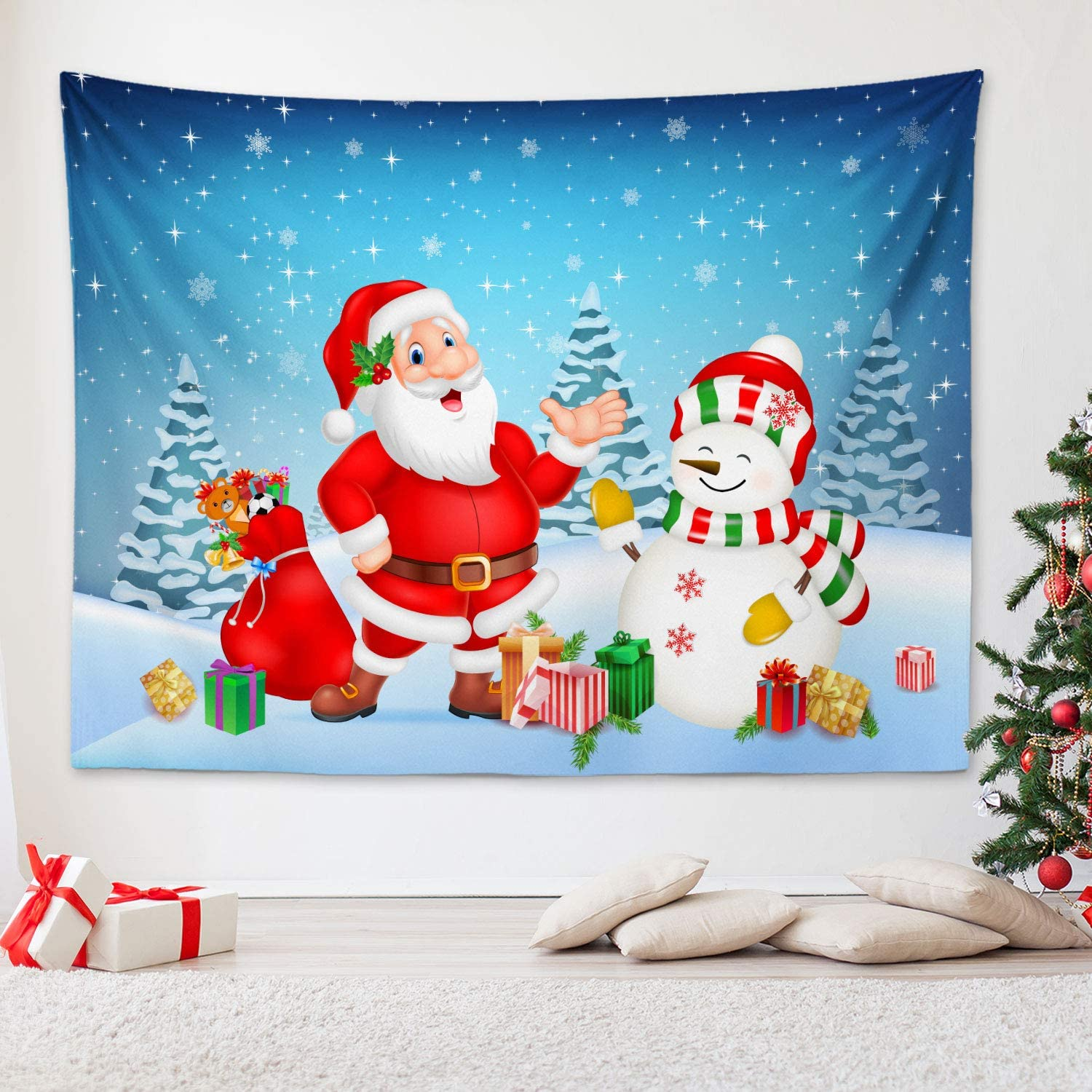 """RosieLily Christmas Tapestry Santa Claus Pattern Tapestries, 59""""x 79"""" Decorative Snowman Wall Hanging for Bedroom Living Room Dorm Wall Decor, Blue"""