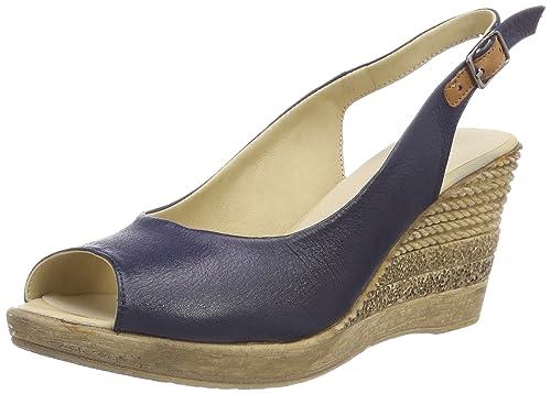 1675710 - Sandalias con Punta Abierta de Cuero Mujer, Color Gris, Talla 36 EU Andrea Conti