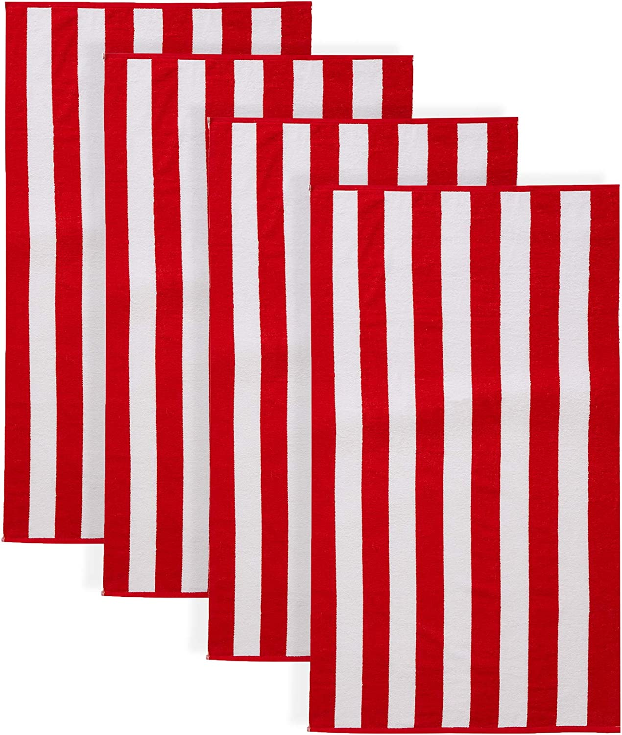 100% Cotton Cabana Stripe Beach Towel. Soft Absorbent Quick Dry Towel Set. Diani Collection. (4 Pack, Red)