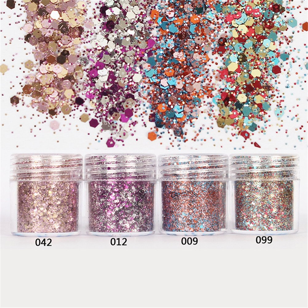Born Pretty 1 Box 10ml Glitter Powder Pink Rose Red Ultra-thin 1mm Mixed Paillette Nail Sequins Nail Decor 042#