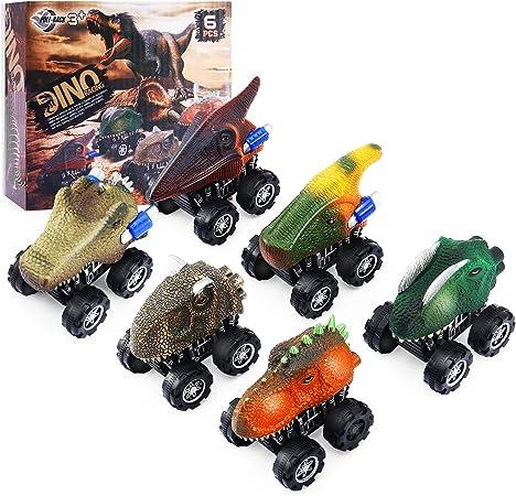 GOMYHOM Dinosaur Toys for 3 Year Old Boys Pull Back Dinosaur Car Toys 6 Pack for Toddler Boys Age 3-8, Birthday for Kids 3 4 5 6 7 8 Year Old Boys Girls
