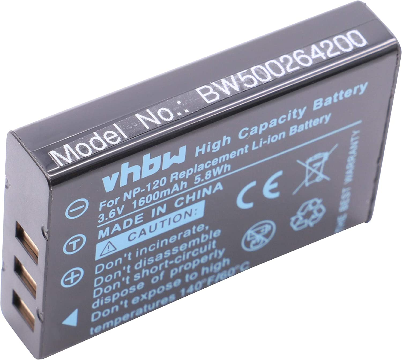 vhbw Batería Adecuada para cámaras Contax GNS 5840, 5843/i.Trek M3 BT GPS/Jay-Tech JTC VideoShot HD1s, HD12 (1600mAh, 3.7V, Li-Ion)