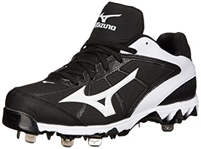 Mizuno Women's 9 Spike Select 2 Fast Pitch Metal Softball Cleat, Black/White ,
