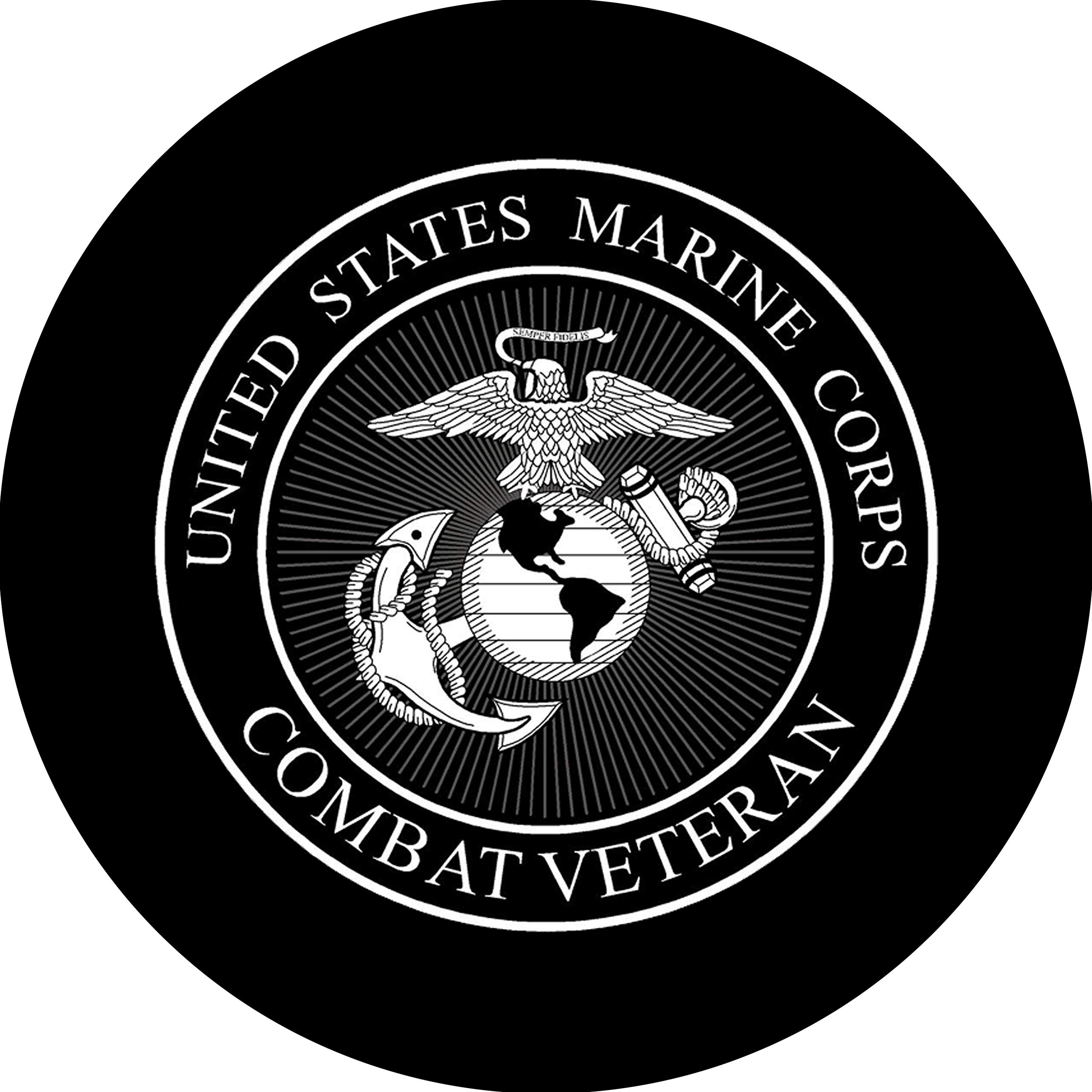 Tire Cover Central Marines Combat Veteran Logo Black & White Spare Tire Cover for Jeep RV Camper Trailer(drop down size menu by Tire Cover Central