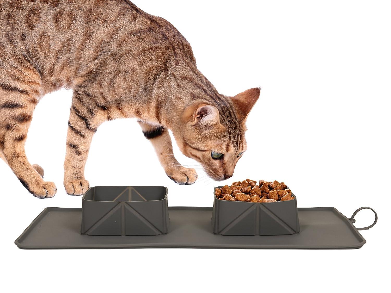 EasyPets Double Roll N Go - Juego de cuencos para perros y gatos Cuencos plegables enrollables para casa o viaje. Alfombrilla portátil con cuencos para ...