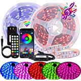 BIHRTC Led Strip Lights 60ft RGB Led Light Strip SMD 5050 Music Sync Color Changing with APP Controller and Remote Control De