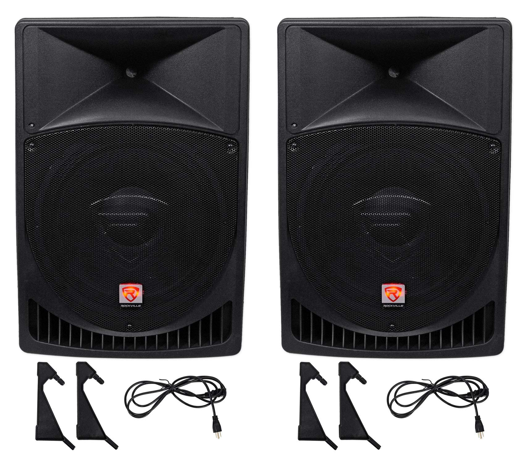 Pair Rockville Power Gig RPG15 15'' Powered Active 2000 Watt 2-Way DJ PA Speakers