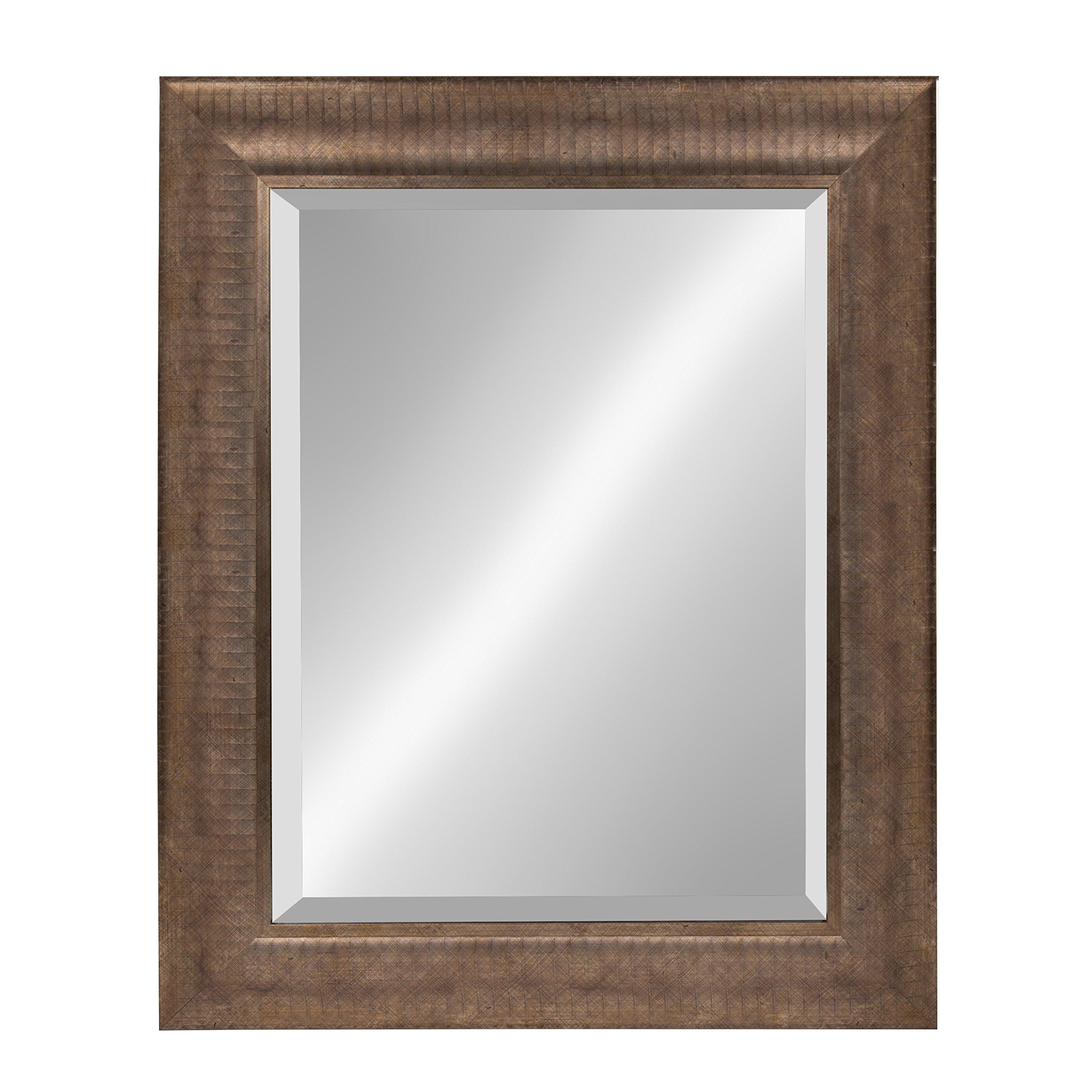Kate and Laurel Carrollton Framed Wall Beveled Mirror, 25x31, Antique Brass