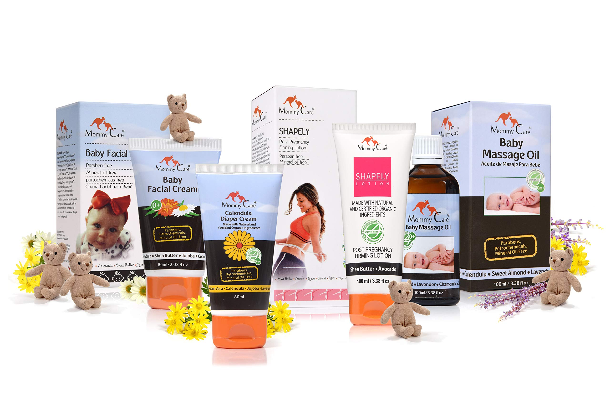 Value Pack - Maternity Skin Care Kit from Mommy Care - Includes Shapely [Belly Firming Cream] Baby Face Cream, Calendula Diaper Rash Cream and Baby Massage Oil - Organic Vegan Natural Products by MOMMY CARE