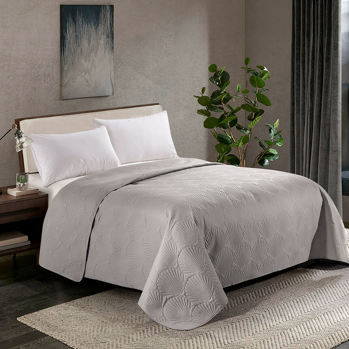 HollyHOME Coastal Style Super Soft Solid Single Shell Parttern Pinsonic Quilted Bed Quilt Bedspread Bed Cover, Grey, Twin