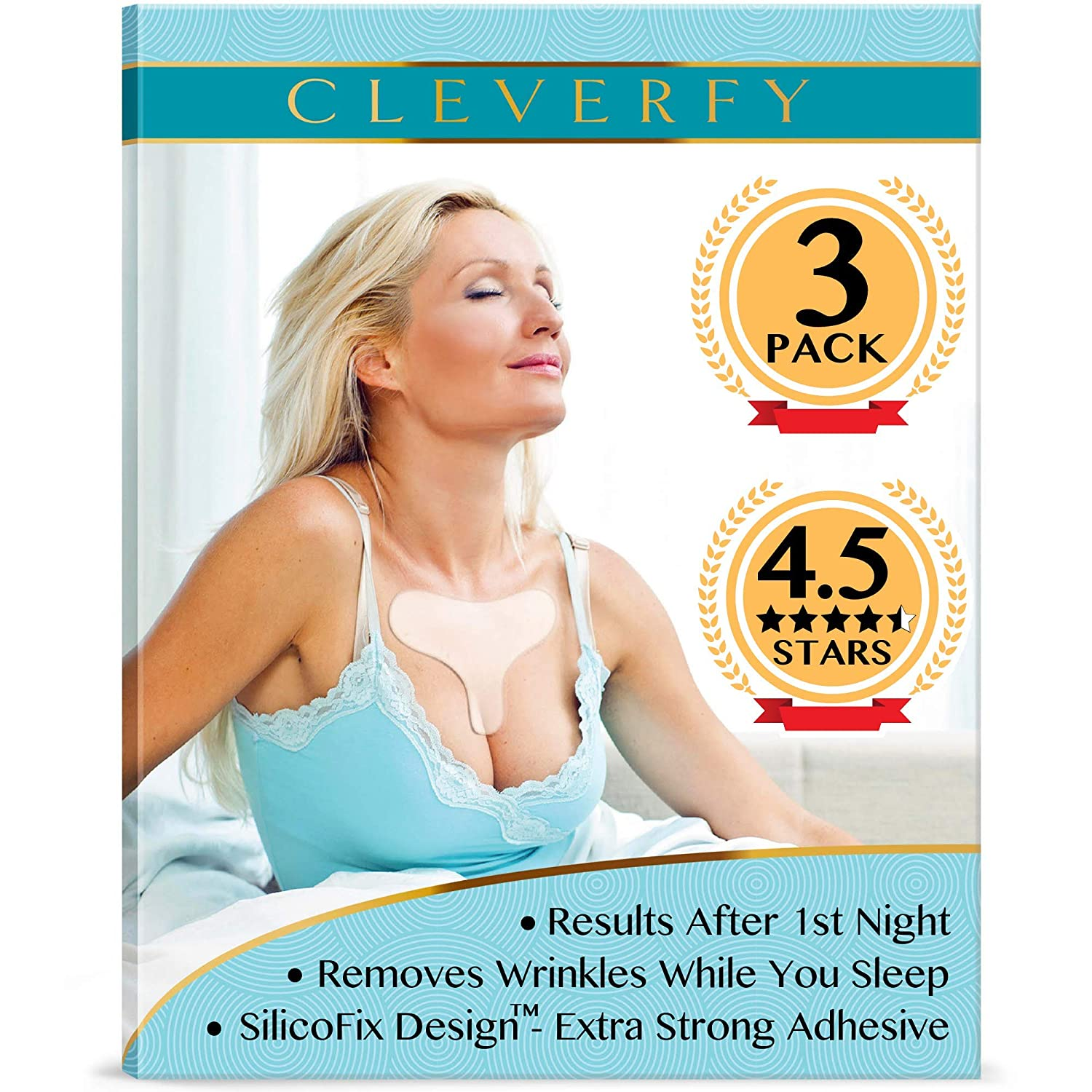 Cleverfy Chest Wrinkle Pads Sleeping (3 Pack T-shape ) - Decollete Anti Wrinkle Chest Pads - Silicone Chest Wrinkle Pad - Anti Wrinkle Pads - Silicon Chest Wrinkle Pads for Chest Wrinkle Prevention: Beauty