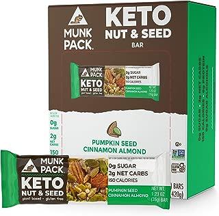 product image for Munk Pack Keto Nut & Seed Bar, 0g Sugar, 2g Net Carbs, Keto Snacks, No Added Sugar, Plant Based, Gluten Free, Soy Free (Pumpkin Seed Cinnamon Almond 12 Pack)