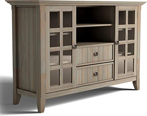 Simpli Home Acadian SOLID WOOD Universal Tall TV Media Stand, 53 inch Wide, Farmhouse Rustic, Storage Shelves and Cabinets with Glass Doors, for Flat Screen TVs up to 60 , Distressed Grey