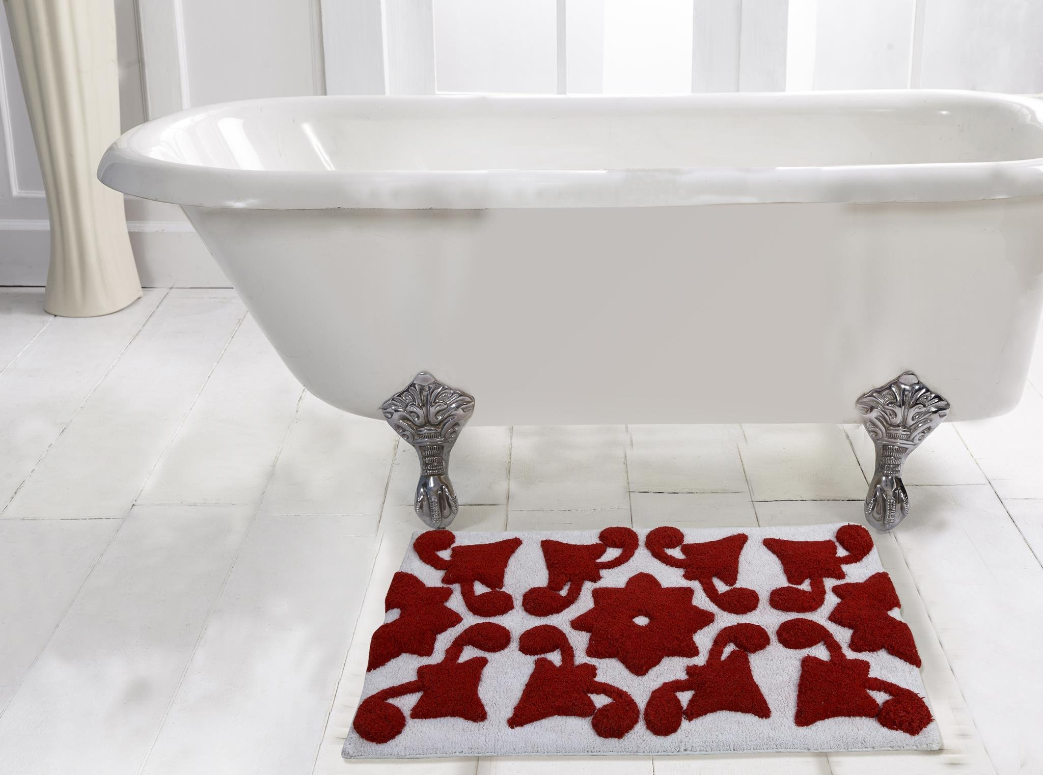WARISI - Spring Collection - Designer Plush, Cotton Bath Rug, 34 x 21 inches (Red White)