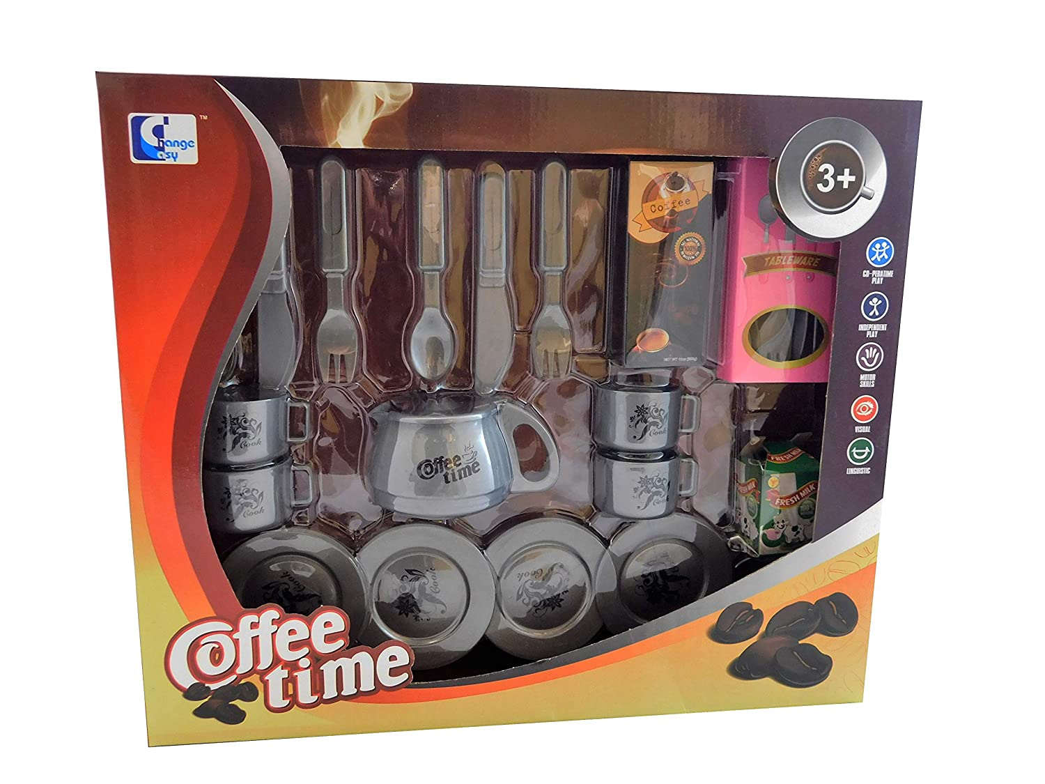 Allkindathings  Children Toy 23 pieces Coffee Time Tea Set Cups Saucers Spoons Tea Set