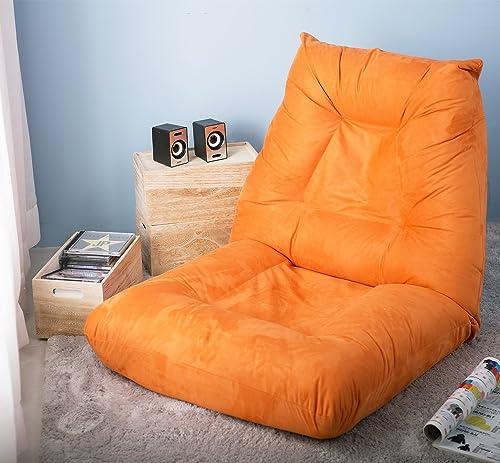 LZ LEISURE ZONE Adjustable 5-Position Folding Floor Chair Lazy Sofa Cushion Gaming Chair Orange