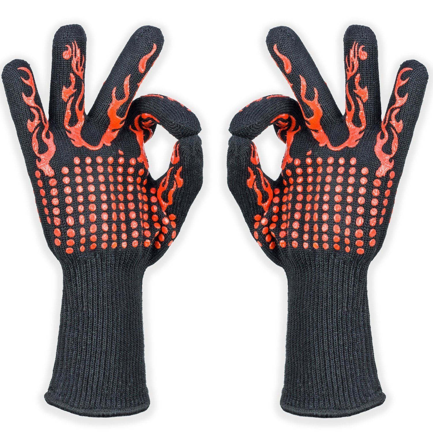 cdsnxore BBQ Oven Cooking Gloves, 932°F Extreme Heat Resistant Grilling Gloves Non-Slip Kitchen Mitts BBQ Fireplace Accessories Men Women, 1 Pair,13'' Extra Long