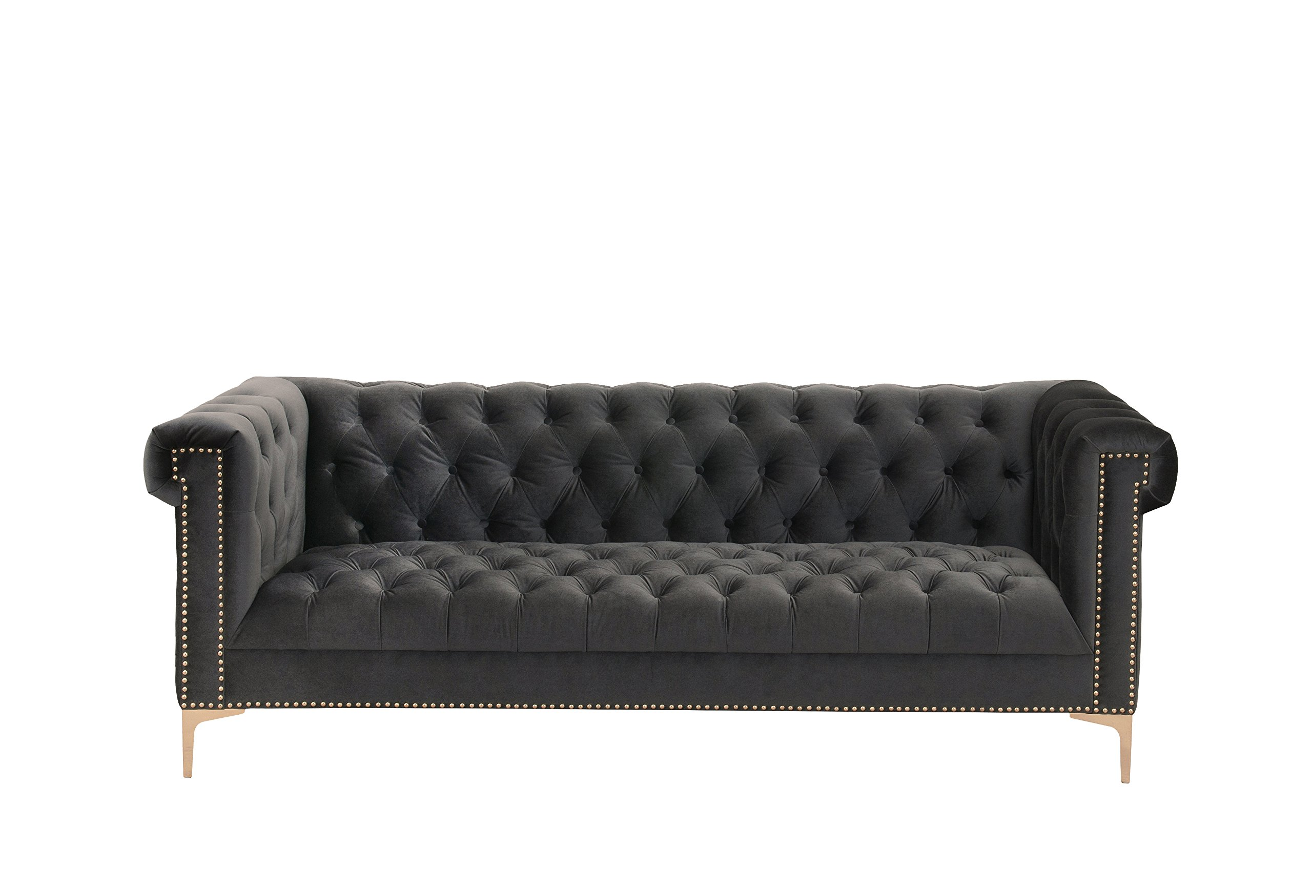 Iconic Home Gold/Grey Bea Velvet with Nail head Trim Tone Metal Sofa - Classic Velvet sofa with gold tone Y-shaped legs seats three Grey velvet sofa with rolled arms and gold tone nail head trim Regal chesterfield style button tufting throughout - sofas-couches, living-room-furniture, living-room - 81eqLdOlWhL -