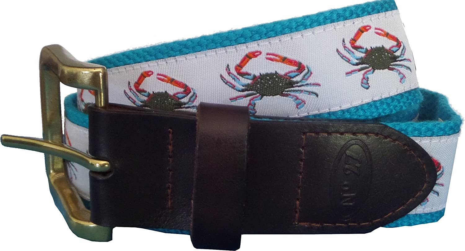 Blue Crab Nautical Leather Belt Leather Tab and Buckle No27 Mens Blue Crab Leather Belt