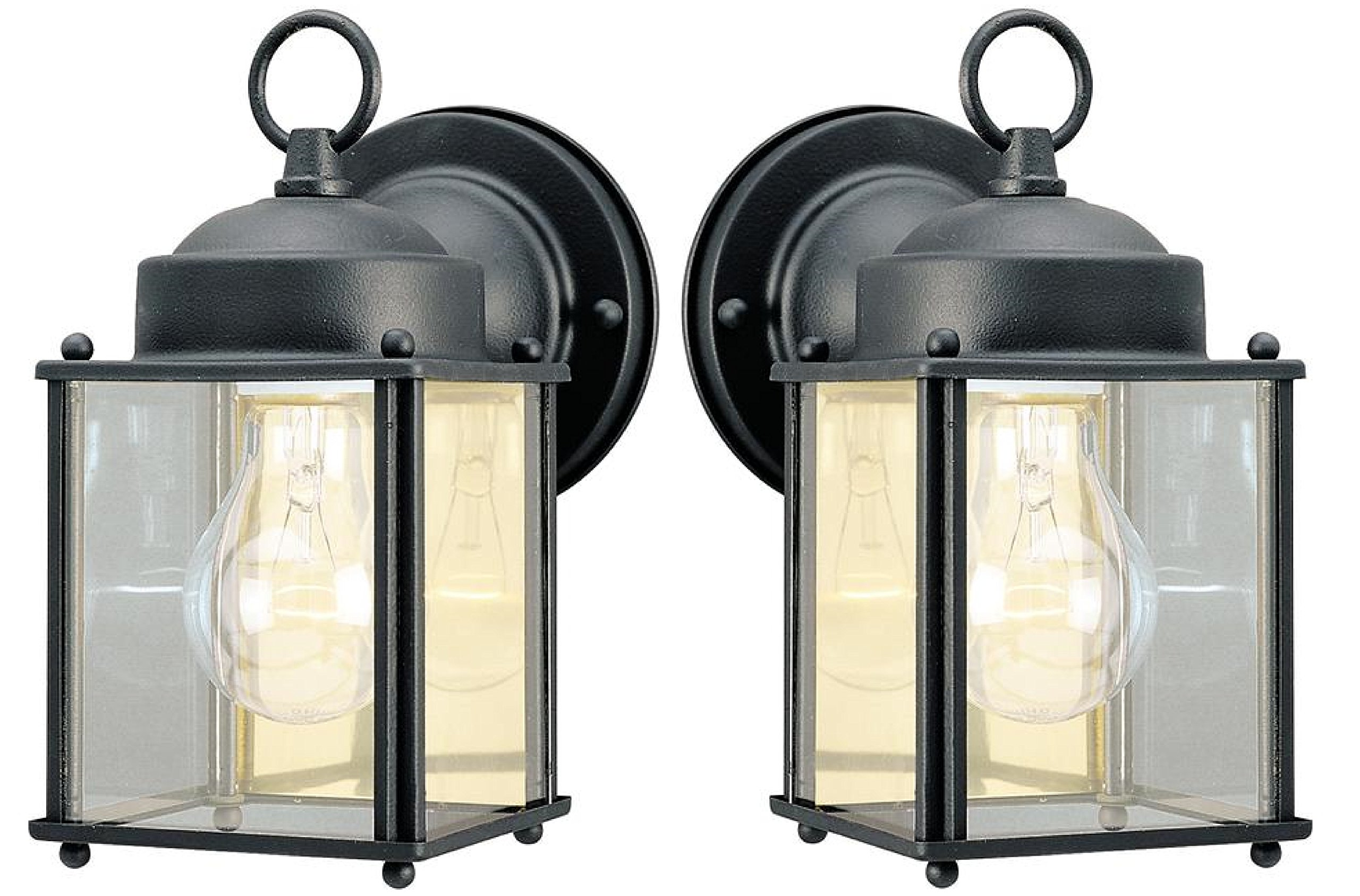 One Light Exterior Wall Lantern, Textured Black Finish on Steel with Clear Glass Panels (2 pack, Textured Black)