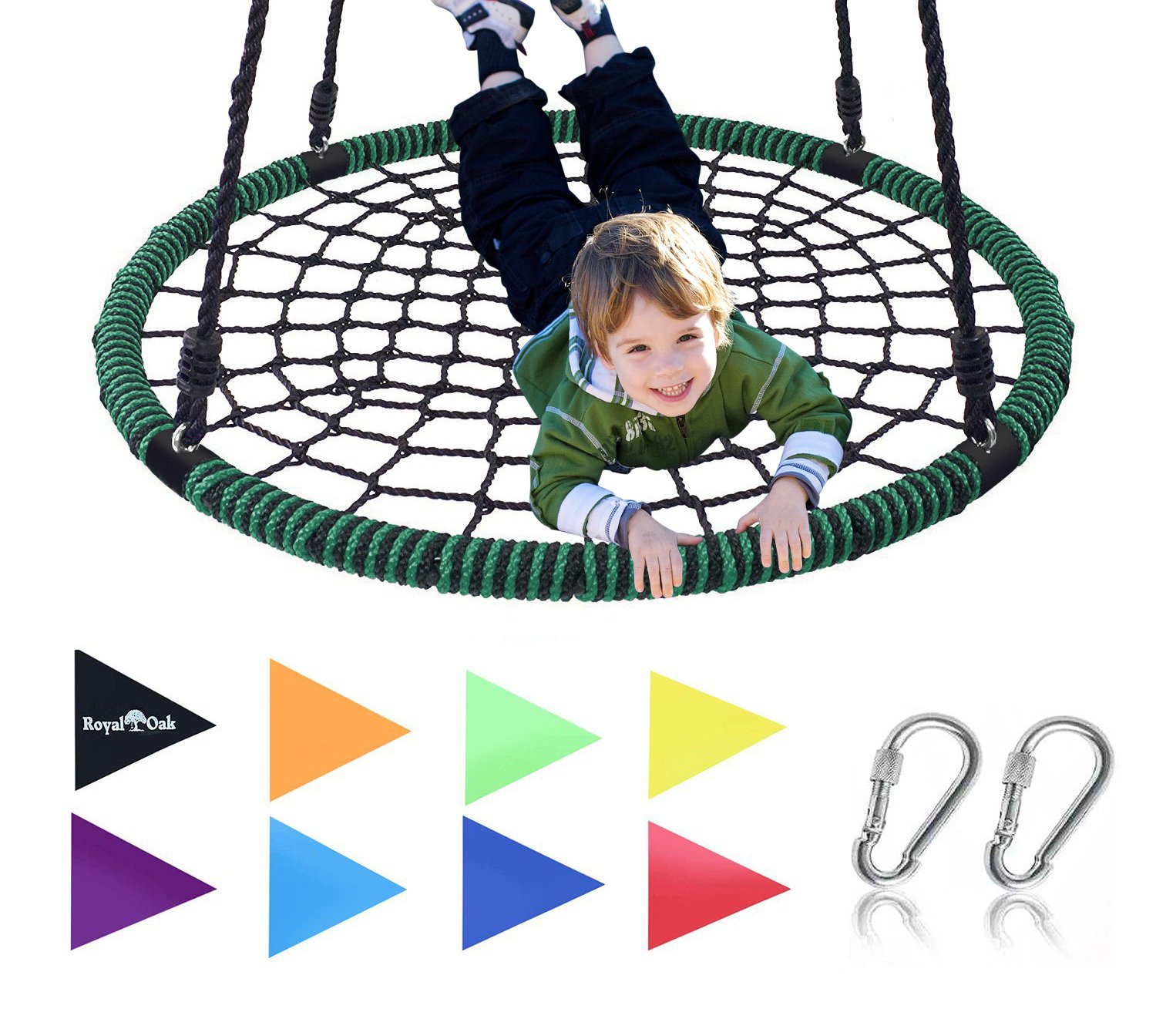 Royal Oak Giant 40'' Spider Web Tree Swing, 600 lb Weight Capacity, Durable Steel Frame, Waterproof, Adjustable Ropes, Bonus Flag Set and 2 Carabiners, Non-Stop Fun for Kids!