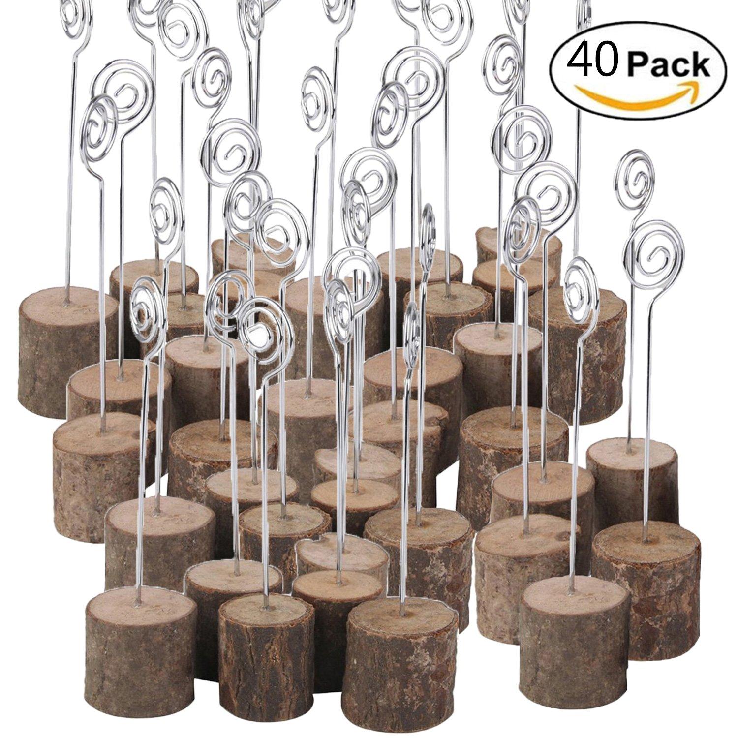 ECHI Wedding Table Card Holder, Real Wooden Base Photo Holder - Suit for Photo, Picture, Memo, Card, Business Card Clip (40PCS)