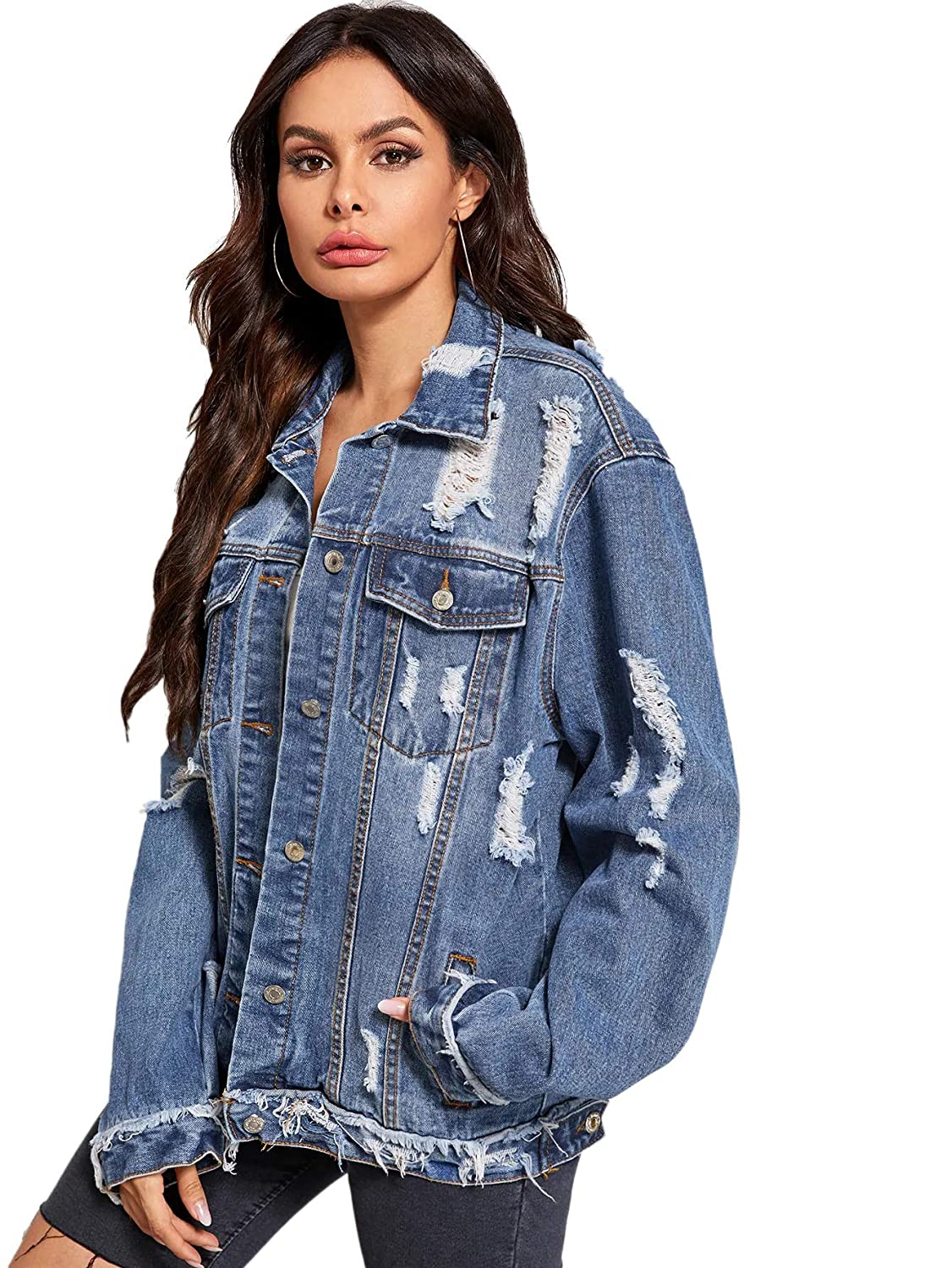 Floerns Womens Ripped Distressed Casual Long Sleeve Denim Jacket