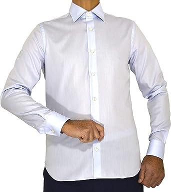 E. MECCI Camisa de Hombre Made in Italy, 100% algodón, No Iron Azul Claro, Slim Fit, Manga Larga: Amazon.es: Ropa y accesorios