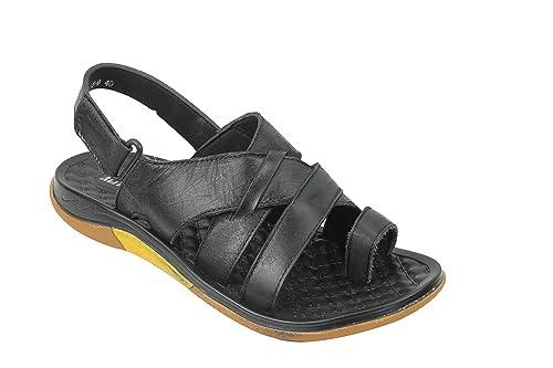 7c4837737ec3 Mens Soft Real Leather Gladiator Sandals Adjustable Strap Toe Grip Walking  Slippers Black Brown  N15