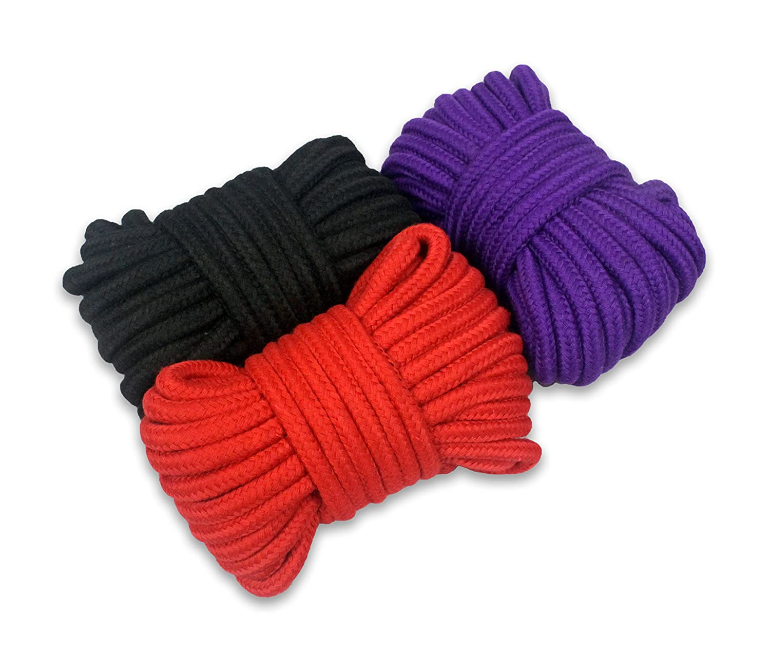 Pack of 3 x 11m Red and Purple Soft Cotton Rope Extra Long All Purpose Knot Tying Natural /& Durable Braided Cotton Black 36 foot