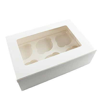 Ibex Retail 10 x Blanco Cajas para Cupcakes 6 Agujero cavidad para 6 Pasteles